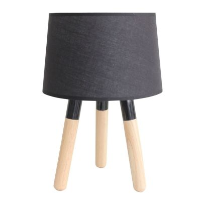 Eden Metal & Wood Base Tripod Table Lamp, Black