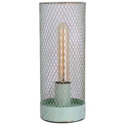 Clara Metal Mesh Touch Table Lamp, Mint