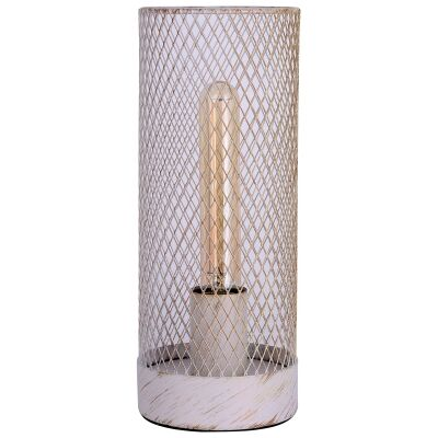Clara Metal Mesh Touch Table Lamp, White