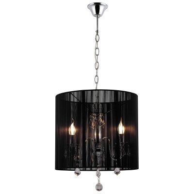 Paris Crystal Pendant Light, 3 Light, Black