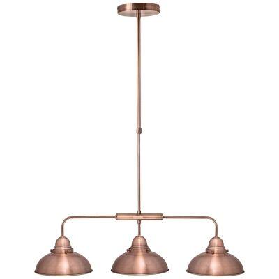 Manor Metal Pendant Light, 3 Light, Antique Copper