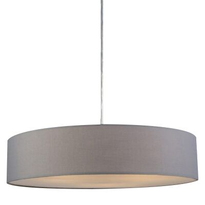 Mara Fabric Drum Pendant Light, Grey