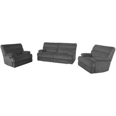 Gordon 3 Piece Fabric Recliner Sofa Set, 2.5+1+1 Seater, Ash Grey