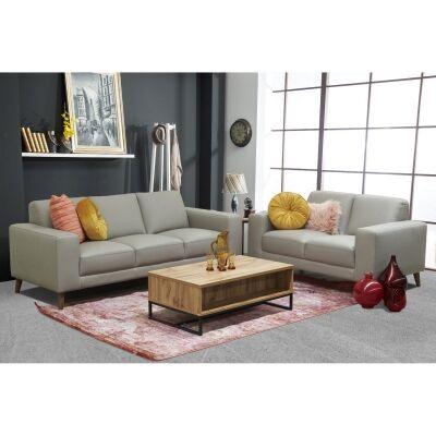 Montoya 2 Piece Leather Sofa Set, 3+2 Seater, Wheat