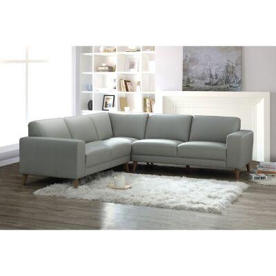 Montoya Leather Modular Corner Sofa, 5 Seater, Pewter