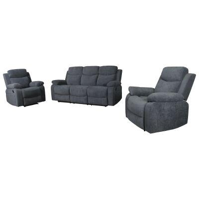 Lalchere 3 Piece Fabric Recliner Sofa Set, 3+1+1 Seater, Ash Grey