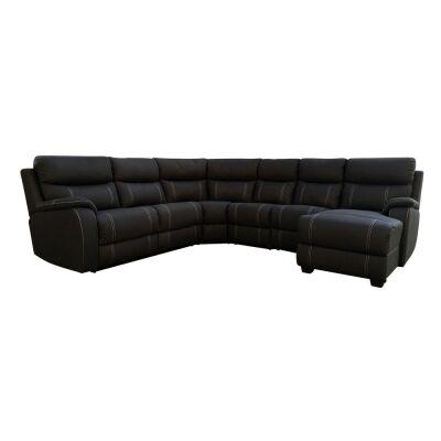 Policarpo Rhino Fabric Modular Corner Sofa, 5 Seater with RHF Chaise & Pull Out Sofa Bed, Onyx