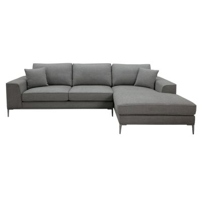 Cassia Fabric Corner Sofa, 2 Seater with RHF Chaise, Oyster Grey