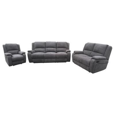 Boronia 3 Piece Fabric Recliner Sofa Set, 3+2+1 Seater, Ash Grey