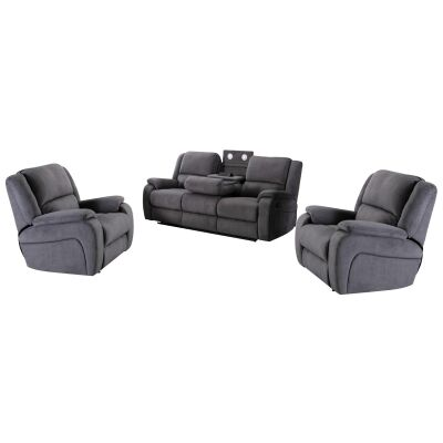 Boronia 3 Piece Fabric Recliner Sofa Set, 3+1+1 Seater, Ash Grey