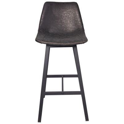 Louis PU Leather & Metal Bar Stool, Antique Black