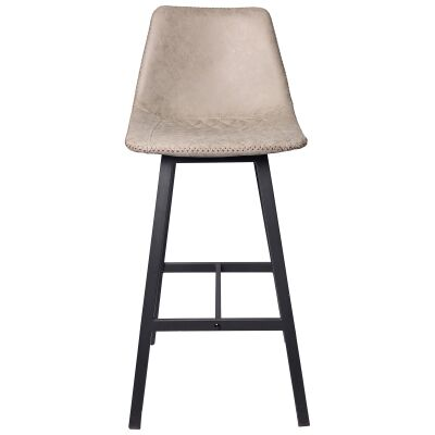 Louis PU Leather & Metal Bar Stool, Antique Grey