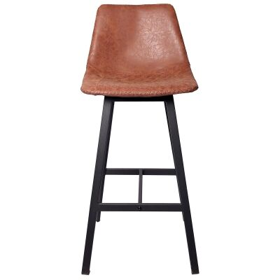 Louis PU Leather & Metal Bar Stool, Antique Tan