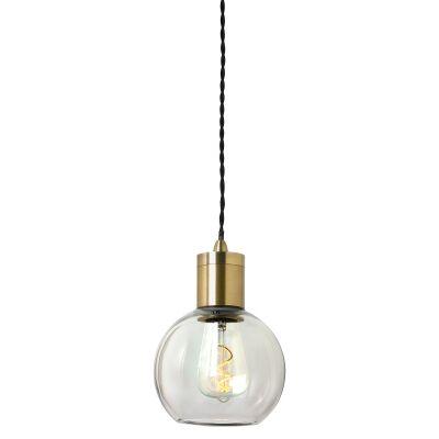 Parlour Sphere Glass Pendant Light, Clear / Antique Brass