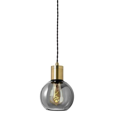 Parlour Sphere Glass Pendant Light, Smoke / Antique Brass