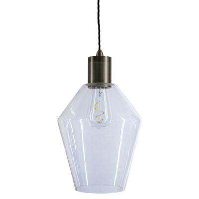 Parlour Geo Glass Pendant Light, Clear / Iron