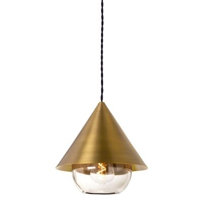 Parlour Cone Metal Pendant Light with Sphere Glass Shade, Antique Brass / Clear