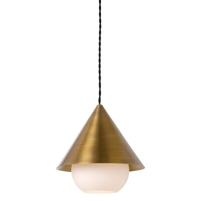 Parlour Cone Metal Pendant Light with Sphere Glass Shade, Antique Brass / White