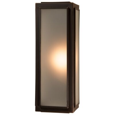 Lille IP44 Brass & Glass Indoor / Outdoor Wall Lantern, Small, Antique Bronze / Frosted