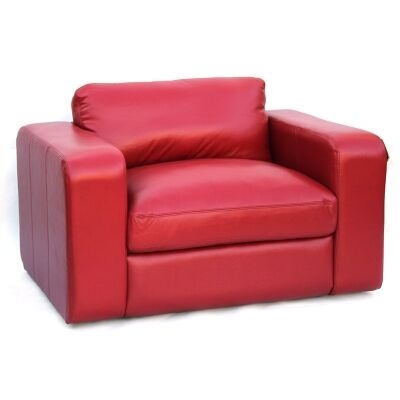 Johnson Genuine Leather Armchair, Red