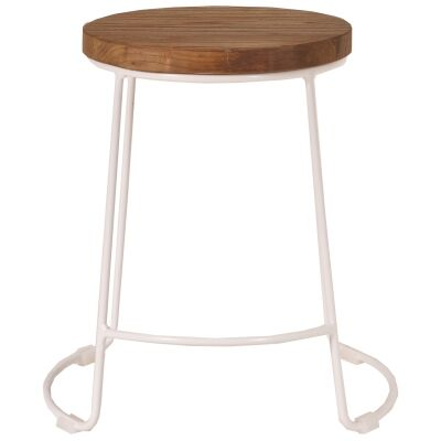 Splay Commercial Grade Pine Timber & Iron Dining Stool, White