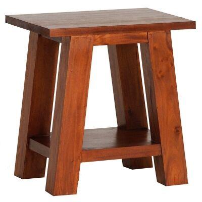 Showa Solid Mahogany Timber Lamp Table, Light Pecan