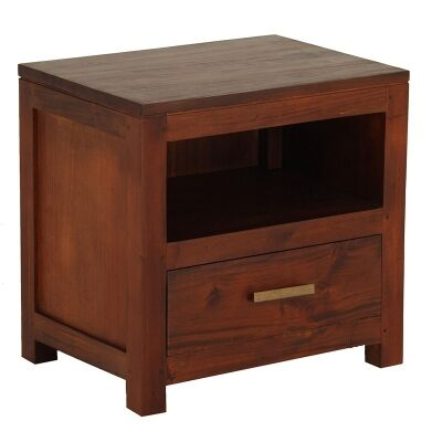 Milan Handcrafted Solid Mahogany Timber Single Drawer Bedside Table - Mahogany