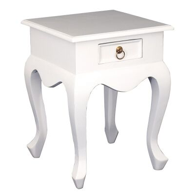 Queen Ann Solid Mahogany Timber Single Drawer Lamp Table - White
