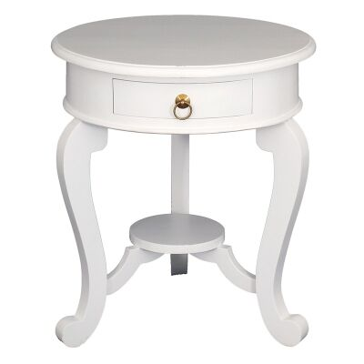 Cabriol Solid Mahogany Timber Round Lamp Table, White