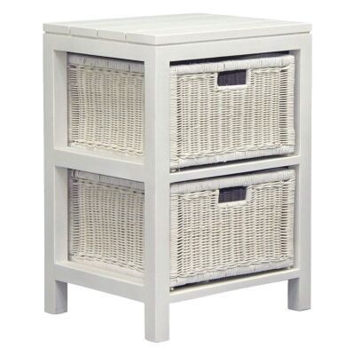 Solid Mahogany 2 Drawer Rattan Lamp Table, White