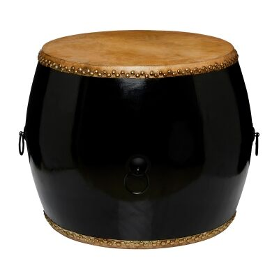 Mugu Pine Timber Chinese Drum Accent Side Table, Black