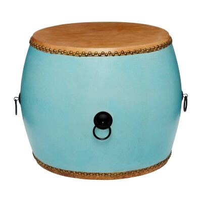 Mugu Pine Timber Chinese Drum Accent Side Table, Duck Egg Blue
