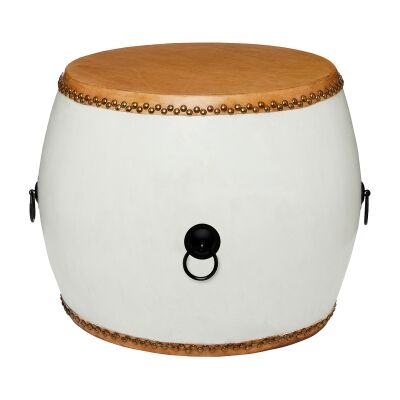 Mugu Pine Timber Chinese Drum Accent Side Table, Whtie