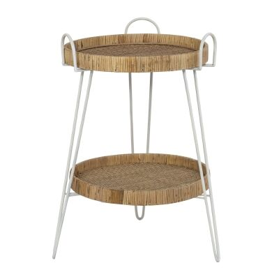 Fairhaven Rattan Tray Topped Metal Round Side Table