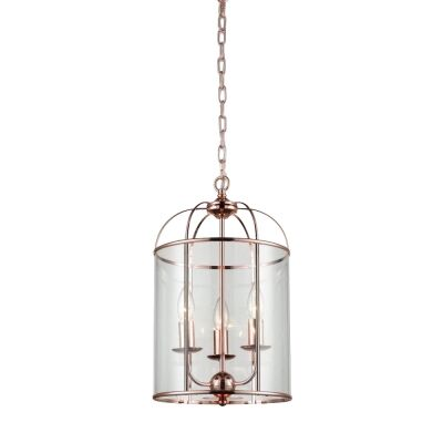 Upton Steel & Glass Pendant Light, Medium, Rose Gold