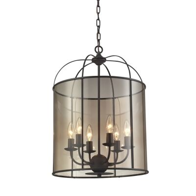 Upton Steel & Glass Pendant Light, Large, Oil Rubbed Bronze