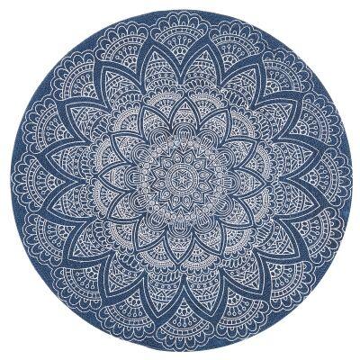 Lunar Cordelia Printed Cotton Round Rug, 120cm, Blue