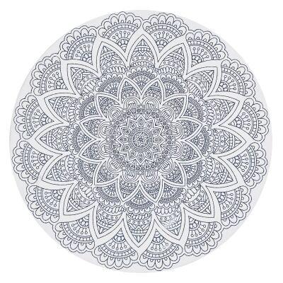 Lunar Cordelia Printed Cotton Round Rug, 120cm, White