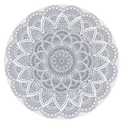 Lunar Cordelia Printed Cotton Round Rug, 200cm, White
