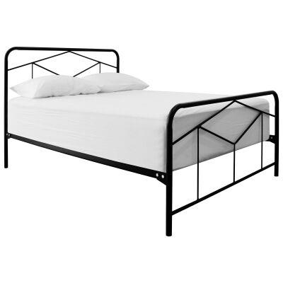 Tubeco Luna Australian Made Metal Bed, Double, Gloss Black