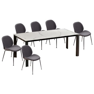 Lunar 7 Piece Ceramic Top Dining Table Set, 200cm, with Beetle Chair