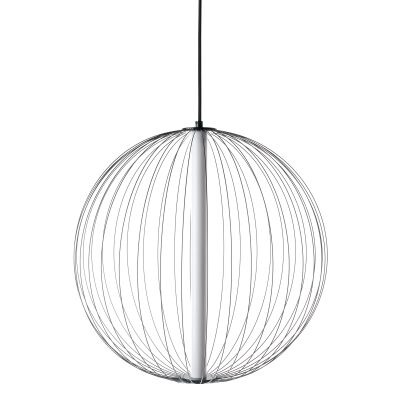Carbon LED Steel Ball Pendant Light, Small, Black