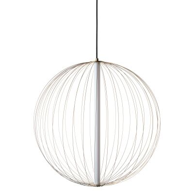 Carbon LED Steel Ball Pendant Light, Small, Brass