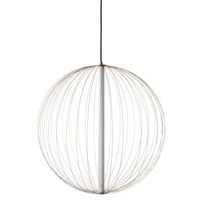 Carbon LED Steel Ball Pendant Light, Large, Brass