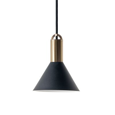 Sync Metal Pendant Light, Cone Shade, Large, Black / Brass