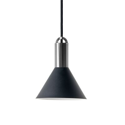 Sync Metal Pendant Light, Cone Shade, Large, Black / Nickel