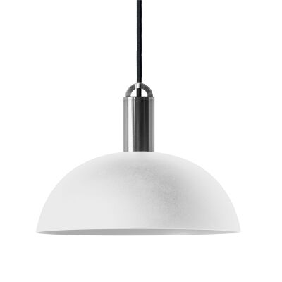 Sync Metal Pendant Light, Dome Shade, White / Nickel