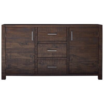 Arcadia Solid Timber 2 Door 3 Drawer Buffet Table, Aged Walnut