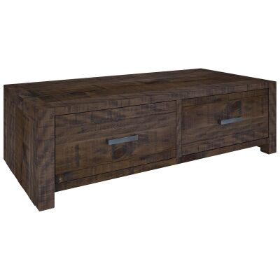 Arcadia Solid Timber 2 Drawer Coffee Table, 130cm, Aged Walnut