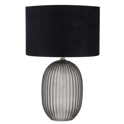 Aston Glass Table Lamp, Smoke / Black